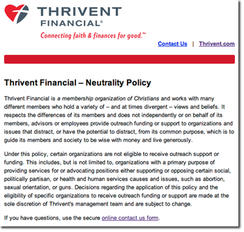 thrivent neutrality
